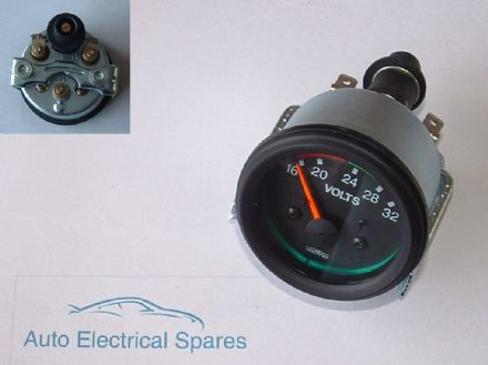 "CLASSIC CAR 2"" 52mm 24v voltmeter ILLUMINATED GREEN"
